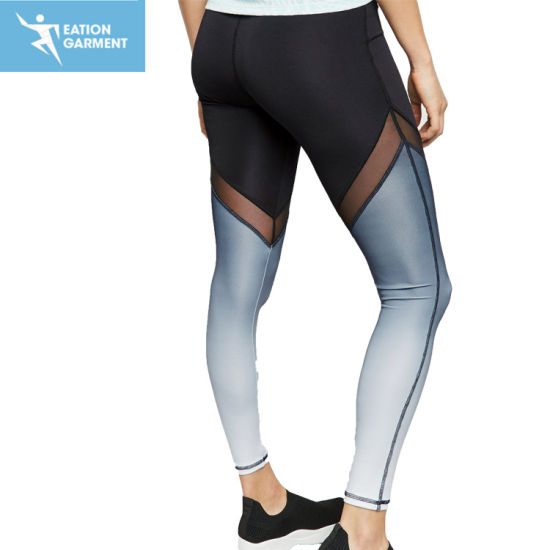 ebd6dd14d Black Ombre Sports Training Leggings Ladies Slim Fit Glossy Fitness Gym  Tights