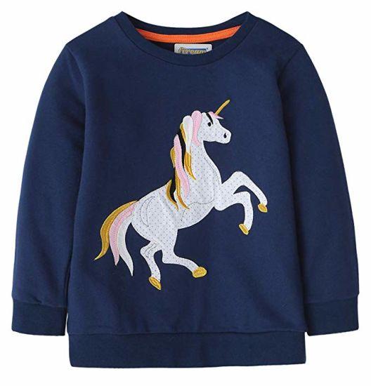 fe1f183e8e18 China Girls Cotton Crewneck Cute Embroidery Sweatshirts - China ...