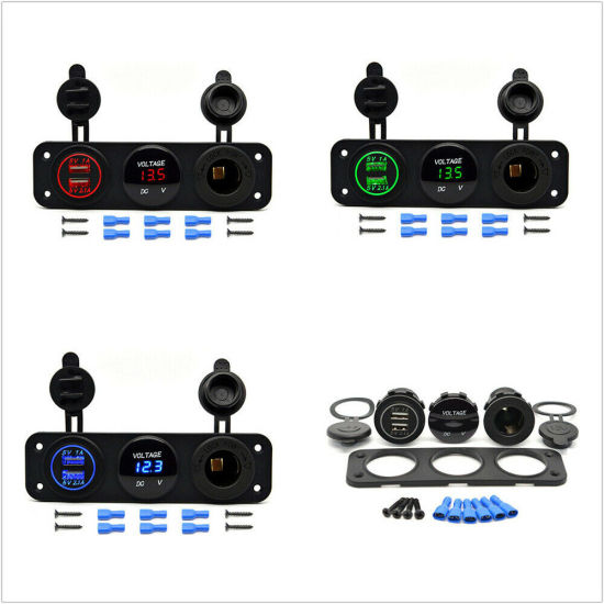 Dual USB Charger and Socket Panel Mount Marine 12 V Boat Power Outlet Universal