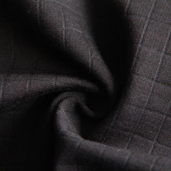68%Rayon 27%Nylon 5%Spandex Black Check Pattern Plain Double Knitting Roma Fabric 450GSM for Garment/Sportswear/Jacket