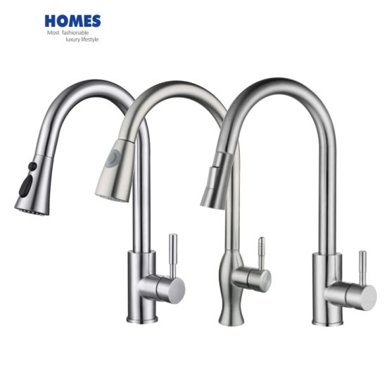 Commercial Single Handle High Arc Brushed Nickel Pull out Kitchen Faucet Single