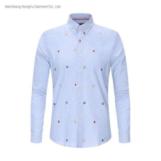 Ocean Casual Embroider Soft Comfortable Men's Long Sleeve Shirt