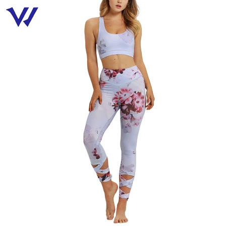 Hot Quick Dry Womens Printing Sublimation Sports Wear Breathable Yoga Set for Women Fitness