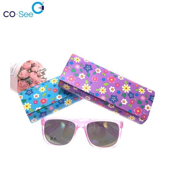 Printed PU Leather Eyewear Cases Folding Custom Sunglass Cute Case