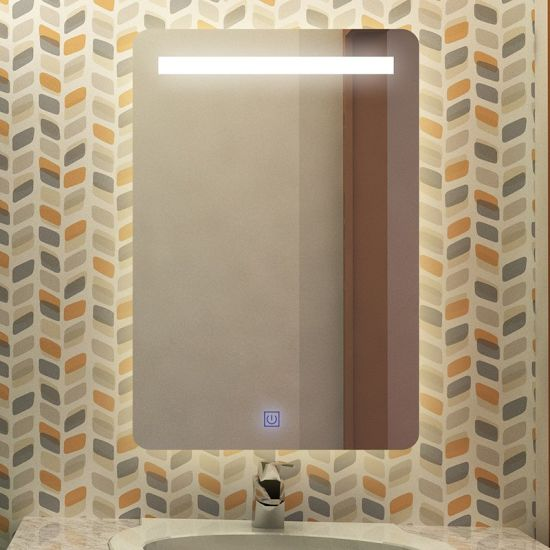 LED Lighted Bathroom Mirror with Touch Button/Defog/Time Clock/Temperature Display/Bluetooth Feature Optional
