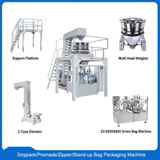 Automatic Rotary Premade Bag/Zipper Bag/Doy Bag/Doypack Filling Sealing Packing Machine for Food Powder Grain Nuts Chips Sauce Paste Liquid Packaging