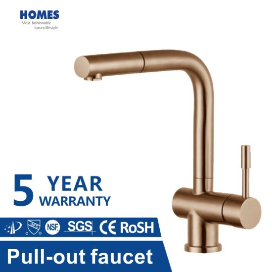 Stylish Design Stainless Steel Faucet Single Handle Can Pull out Copper Color Kitchen Tap