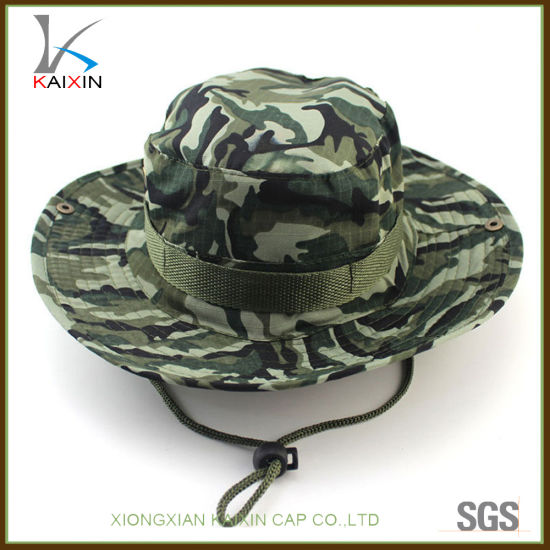 China Custom Wide Brim Camo Hat Military Army Bucket Cap with String ... 5a694869ecc