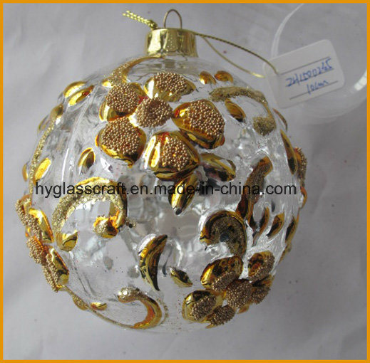10cm Clear Christmas Glass Craft with Flowers for Christmas Decoration