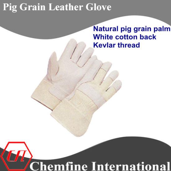 Full Palm, White Cotton White Pig Grain Leather Work Gloves