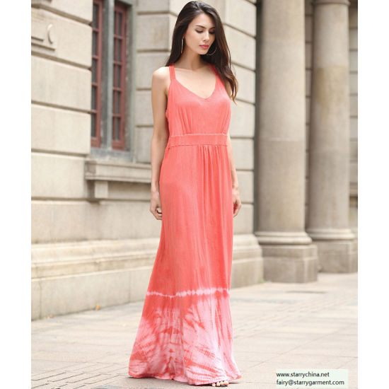 China Red Women Long Slip Dress In Elastic Back China Evening Gown