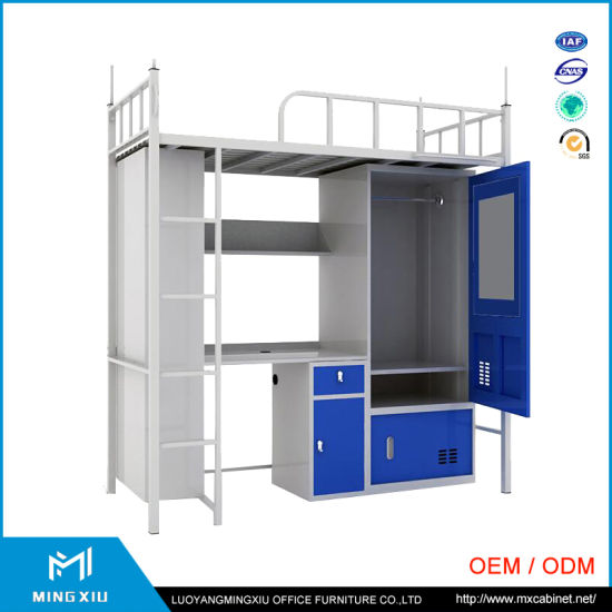 China Manufacturer Adult Metal Bunk Bed Price with Desk and Wardrobe pictures & photos
