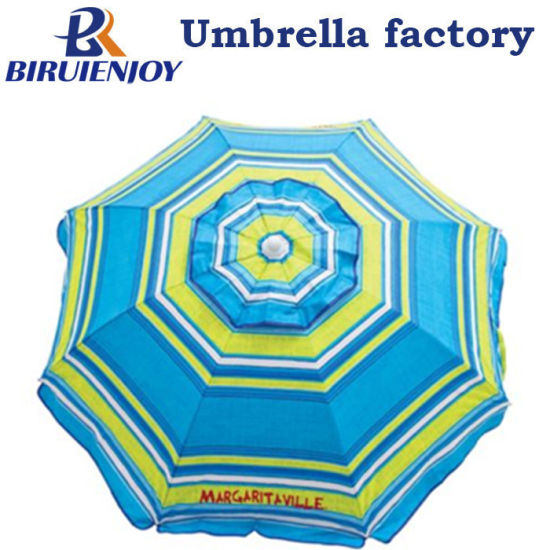 Custom Outdoor 6 FT. Beach Sun Umbrella with Built-in Sand Anchor Upf 50+