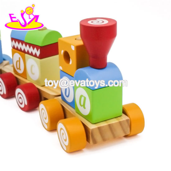 China New Arrival Kids Educational Wooden Block Train with ABC
