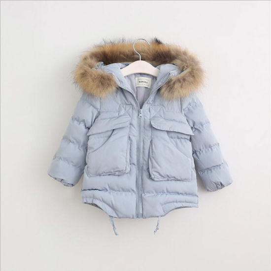 Girl Cotton-Padded Clothes with Fur Collar for Winter Coat pictures & photos