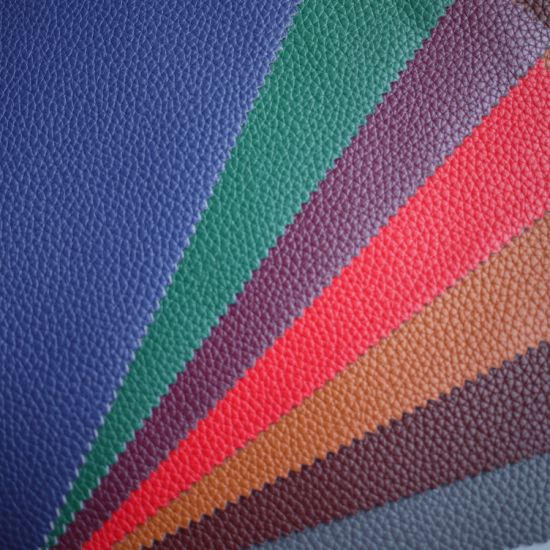 Wholesale Coated Leather Litchi Grain Embossed Synthetic PU Leather for Bag and Sofa
