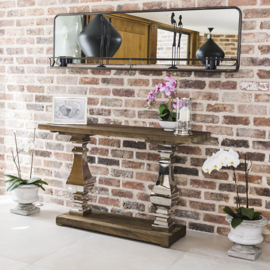 meet 9e020 29ac1 Home Furniture Metal Base Salvaged Reclaimed Wood Entry Console Table