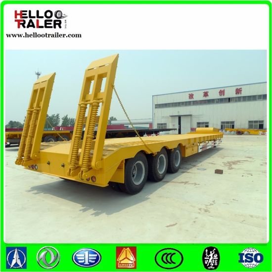 Low Bed Trailer with Container Lock Semi Trailer pictures & photos