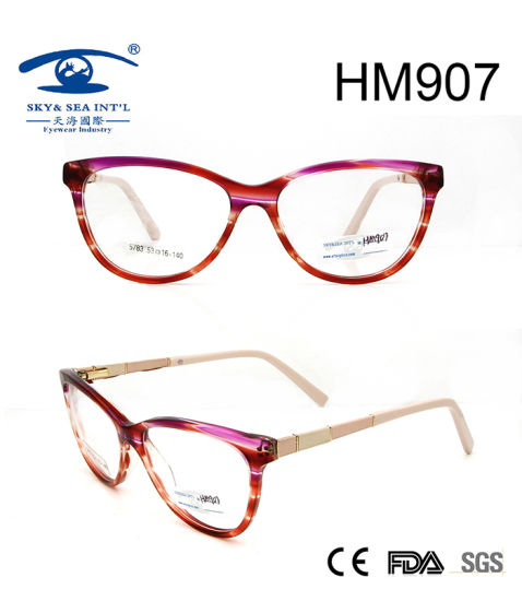 Best Selling Women Acetate Eyeglasses Frame (HM907) pictures & photos