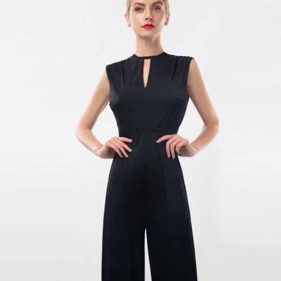 "Novel Design Bling Fabric ""V"" Keyhole Office Lady Jumpsuits"