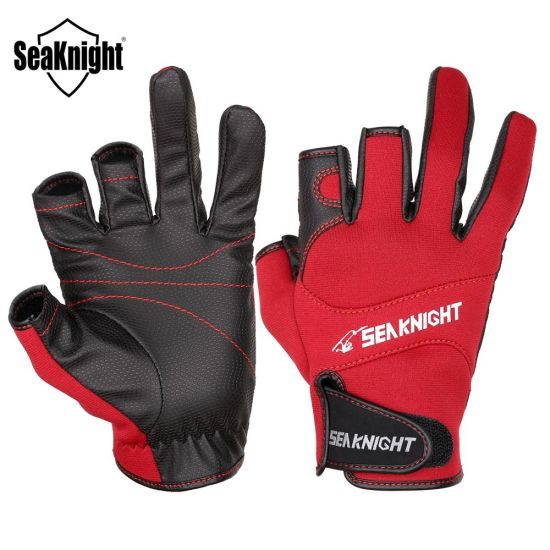 Breathable Leather Gloves PU Fishing Gloves