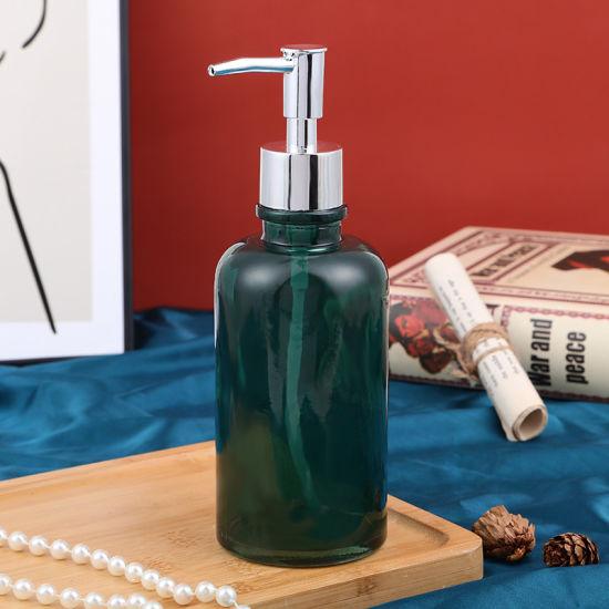 Spot Cross Border Pure Color Transparent Glass Hand Sanitizer Bottle Modern Simple Air Pressure Round Shoulder Bottle of Bath Liquid