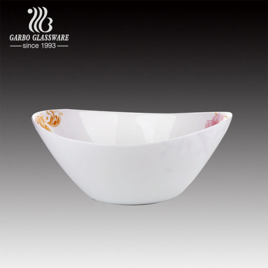 Custom Printing White Opal Glass Bowl for Restaurant pictures & photos