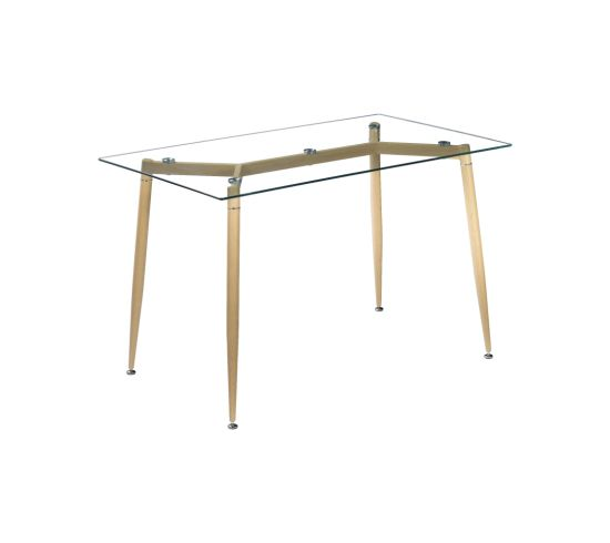 Modern Dining Furniture Glass Table Metal Legs Dining Table with High Quality