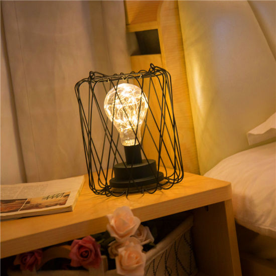 LED Small Lantern Table Lamp Nordic Wind Iron Retro Ins Net Red Night Light Star Light Room Romantic Decoration