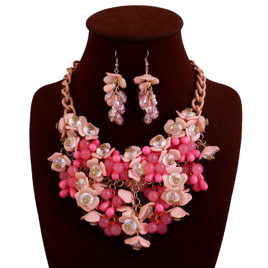 Earring Necklace Jewelry Set Ladies Acrylic Resin Flower Rhinestone Pearl Statement pictures & photos