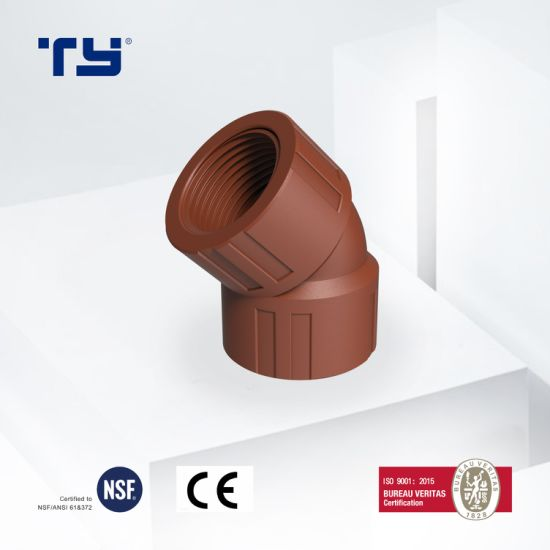 Pph BS Thread Water Supply Pipe /Tube Fittings 45 Deg Elbow with Iram Standard