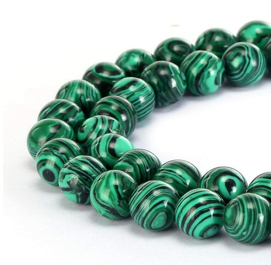 Synthetic Malachite Gemstone Smooth Round Loose Beads Can Make Jewelry Bracelets and Necklaces and a Variety of Fashion Jewelry 4mm - 14mm