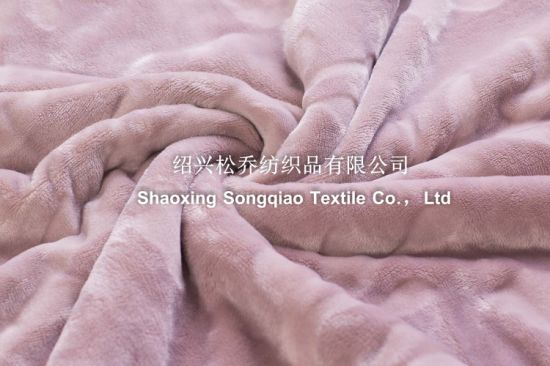 Embossed Flannel with Shu Velveteen Blanket / Sherpa Fleece Throw-Lavender pictures & photos