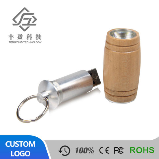 Factory Wholesale 8g Wood Material Natural Environmental Protection USB Flash Drive Custom Gift Business Exhibition Gift Wine Barrel USB Stick 16g
