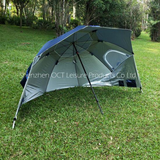 Fishing Camping Beach Umbrella in Navy Blue with Mesh Window (OCT-FU19001)