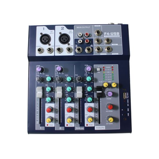 721042 Professional Audio Mini 4/7 Channel Sound Analog Mixer with Delay, Digital Effect, USB, One Output and One Return for PA System