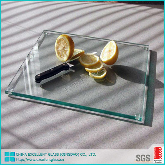 Kitchen Decorative 4mm Tempered Glass Cutting Board with Polished Edge