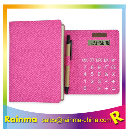 PU Leather Calculator Notebook with Pen and Sticky Memo Notes
