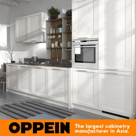 360cm Width White Thermofoil Finish Standard Kitchen Cabinet (OP17-PP02) pictures & photos