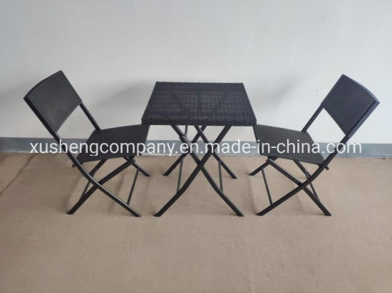 Three-Piece Plastic Rattan Folding Table and Chair Set Garden Furniture pictures & photos