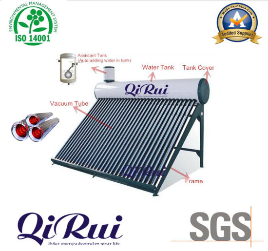 Low Pressure Vacuum Tube Solar Energy Water Heater with Assistant Tank
