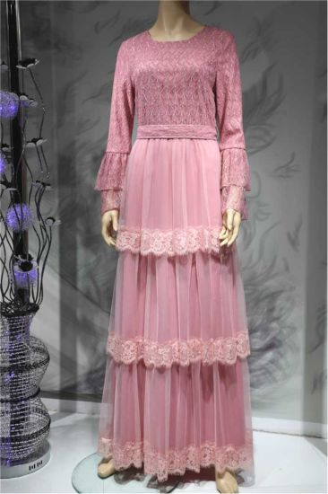 Classic Fashion Layered Skirts Pink Lace Elegant Evening Girl Dress Muslim Long Dress for Sales