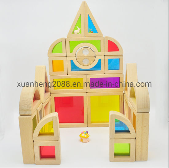 24PCS/Lot Children Wooden Blocks Construction Building Toy Stacking Rainbow Blocks Colorful Cognitive Toys Kids Gifts Montessori