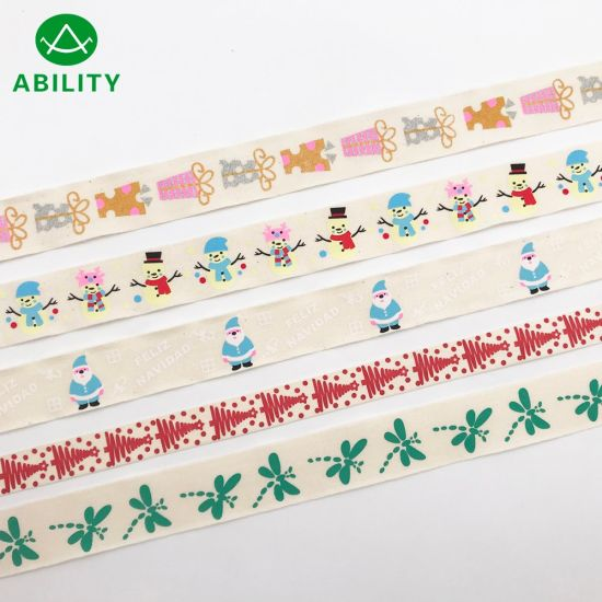 Hot Selling Christmas Popular Printed Cotton Tape Cotton Ribbon