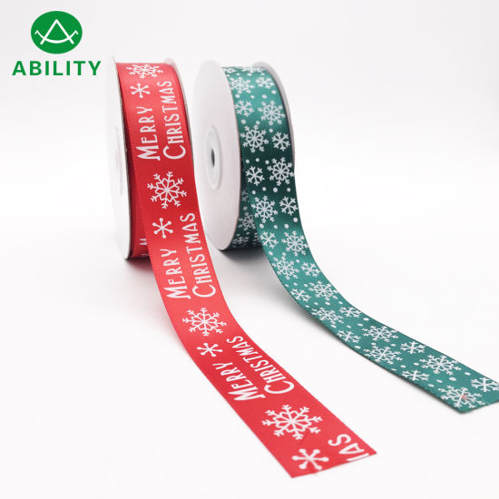 Hot Selling Christmas Snow Snowman Printed Satin Ribbon Grosgrain Ribbon