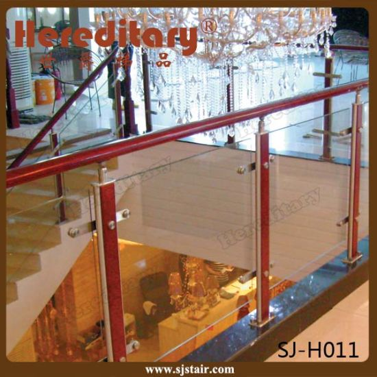 Indoor Modern Design Stainless Steel And Wooden Glass Railing For Stairs