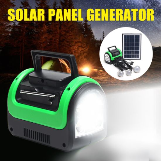 Update Solar System 5W Solar Light Home Solar with 3 Bulbs Radio MP3 Solar  LED Light 0603