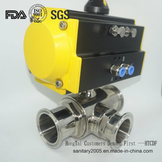 Stainless Steel Three Way Valve with Pneumatic Actuator