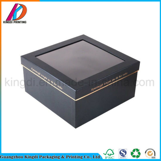 Black Cardboard Square Lid And Base Gift Packaging Box With Pvc Clear Lid