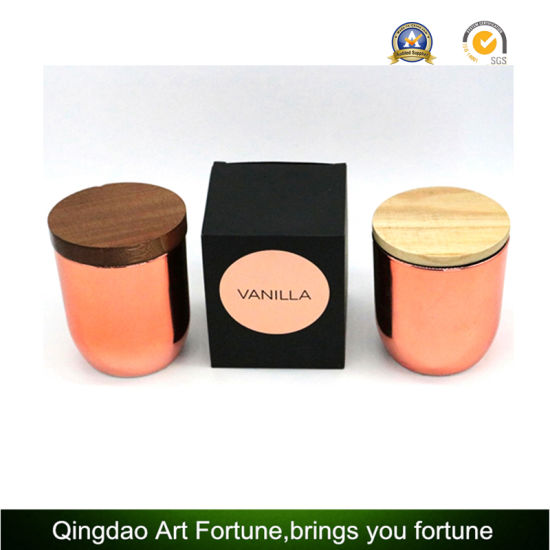 Paraffin Wax Filled Scented Luxury Candles in Copper Glass Jar with Wooden Lid in Black Golden Foil Gift Box pictures & photos